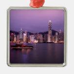 Asia, China, Hong Kong, city skyline and Square Metal Christmas Ornament
