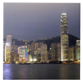 Asia, China, Hong Kong, horizonte de la ciudad y 2 Azulejo Cuadrado Grande