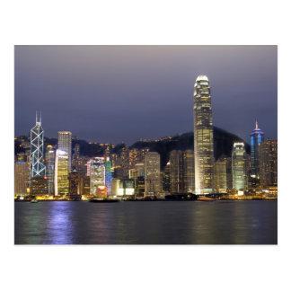 Asia, China, Hong Kong, horizonte de la ciudad y 2 Postal