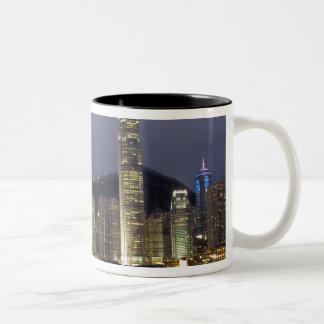 Asia, China, Hong Kong, horizonte de la ciudad y 2 Tazas De Café