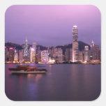 Asia, China, Hong Kong, horizonte de la ciudad y Calcomania Cuadradas Personalizadas