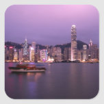 Asia, China, Hong Kong, horizonte de la ciudad y Pegatina Cuadrada