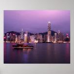 Asia, China, Hong Kong, horizonte de la ciudad y Póster
