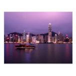 Asia, China, Hong Kong, horizonte de la ciudad y Tarjetas Postales