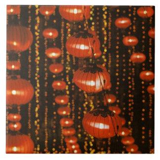 Asia, China, Pekín. Linternas chinas rojas, Azulejo Cuadrado Grande