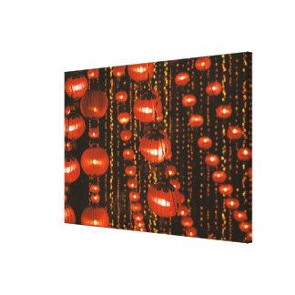 Asia, China, Pekín. Linternas chinas rojas, Impresión En Lienzo Estirada