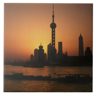 ASIA, China, Shanghai View of Oriental Pearl TV Tile