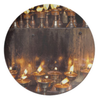 Asia, China, Tibet, Lhasa. Prayer flames, Dinner Plate