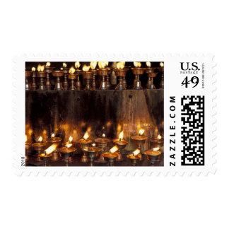 Asia, China, Tibet, Lhasa. Prayer flames, Postage Stamp