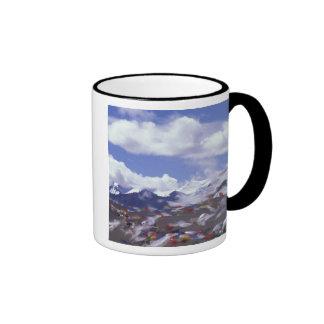 Asia, China, Tíbet, paso de Tangla. Banderas del r Taza De Café