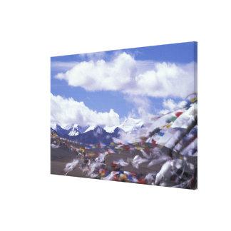Asia, China, Tibet, Tangla Pass. Prayer flags, Canvas Prints