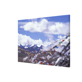 Asia, China, Tibet, Tangla Pass. Prayer flags, Canvas Print