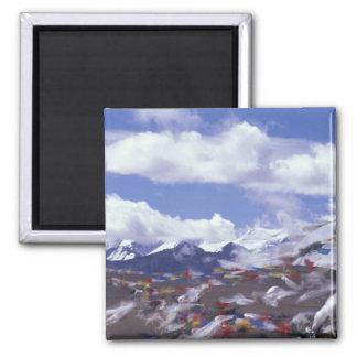 Asia, China, Tibet, Tangla Pass. Prayer flags, Fridge Magnet