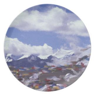 Asia, China, Tibet, Tangla Pass. Prayer flags, Plate