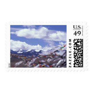 Asia, China, Tibet, Tangla Pass. Prayer flags, Stamp