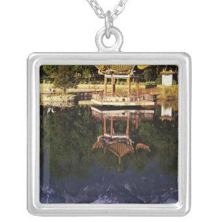 Asia, China, Yunnan, Dali. Cangshan Mountains Square Pendant Necklace