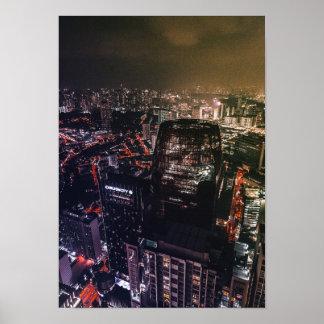 Asia City Urban Nightlife Poster