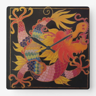 Asia Dragon Square Wall Clock