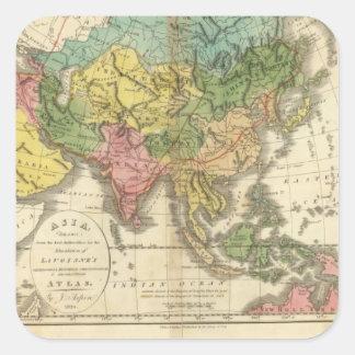 Asia e imperio de Genghis Kahn Pegatina Cuadrada