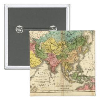 Asia e imperio de Genghis Kahn Pin Cuadrada 5 Cm
