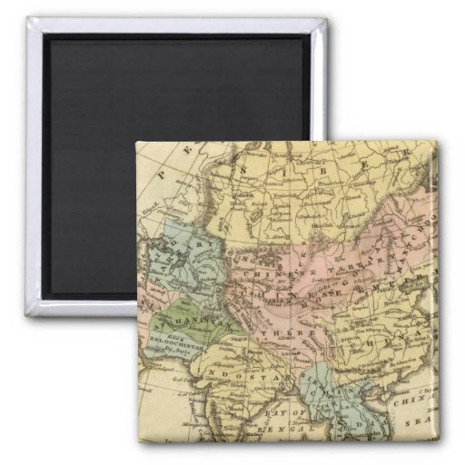 Asia Hand Colored Atlas Map 2 Inch Square Magnet