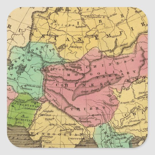 Asia Hand Colored Atlas Map 2 Square Sticker