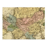 Asia Hand Colored Atlas Map Postcard