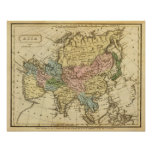 Asia Hand Colored Atlas Map Poster