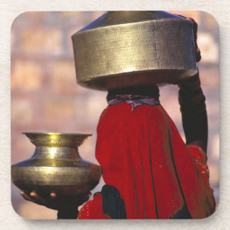 Asia, India, Rajasthan. A local woman in a red Beverage Coaster