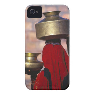 Asia, India, Rajasthan. A local woman in a red iPhone 4 Case-Mate Case