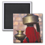 Asia, India, Rajasthan. A local woman in a red 2 Inch Square Magnet