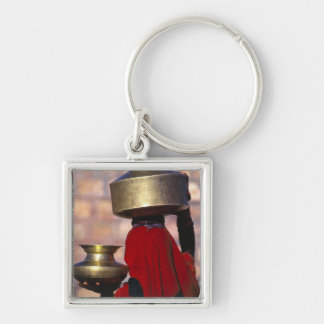 Asia, India, Rajasthan. A local woman in a red Silver-Colored Square Keychain
