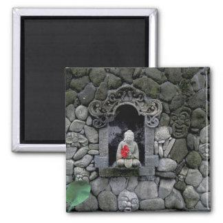 Asia, Indonesia, Bali. A shrine of Buddha 2 Inch Square Magnet