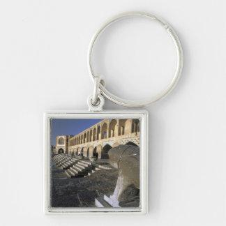 Asia, Iran, Isfahan. Pol-e Khaju Bridge. Silver-Colored Square Keychain