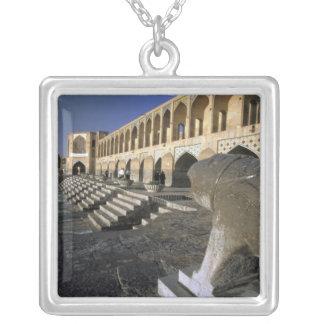 Asia, Iran, Isfahan. Pol-e Khaju Bridge. Silver Plated Necklace