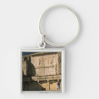 Asia, Iran, Persepolis.Tomb of Darius the Great. Silver-Colored Square Keychain