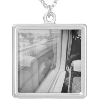 Asia, Japan. Aboard the Shinkansen Bullet Train Silver Plated Necklace