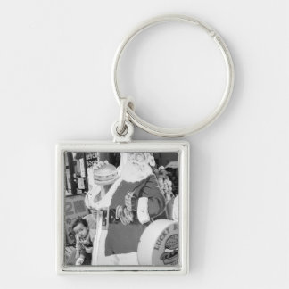 Asia, Japan, Hakodate. Santa Claus in Japan Silver-Colored Square Keychain