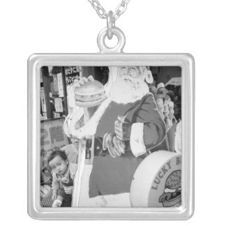 Asia, Japan, Hakodate. Santa Claus in Japan Silver Plated Necklace