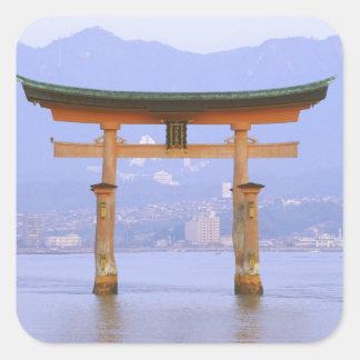 Asia, Japan, Hiroshima. Mivaiima. Torii Gate Square Sticker