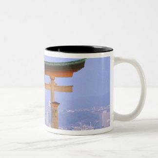 Asia, Japan, Hiroshima. Mivaiima. Torii Gate Two-Tone Coffee Mug
