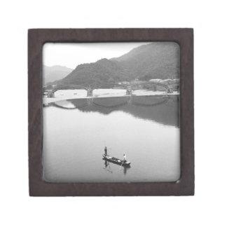 Asia, Japan, Iwakuni. Fishermen and historic 2 Gift Box