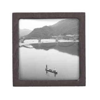 Asia, Japan, Iwakuni. Fishermen and historic 2 Premium Gift Box