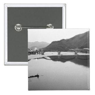 Asia, Japan, Iwakuni. Fishermen and historic 2 Inch Square Button