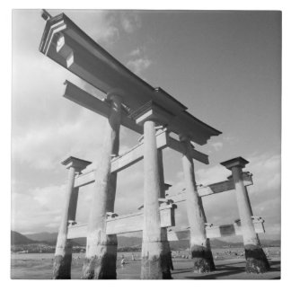 Asia, Japan, Miyajima. The Torri Gate. Tiles