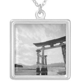 Asia, Japan, Myajima. Torri Gate 2 Silver Plated Necklace