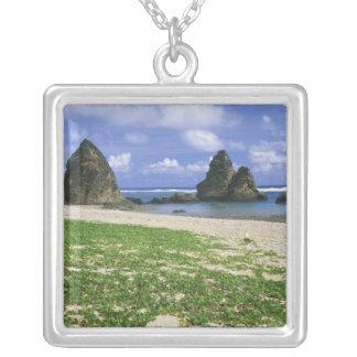 Asia, Japan, Okinawa, Yambaru Coastline, Sea Square Pendant Necklace