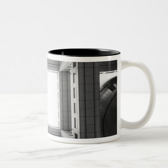 Asia, Japan, Tokyo. Fuji TV Building, looking Two-Tone Coffee Mug