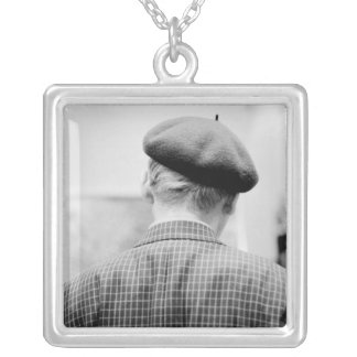 Asia, Japan, Tokyo. Man with Beret, Tokyo Metro Silver Plated Necklace