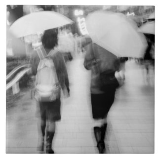 Asia, Japan, Tokyo. Young women and umbrellas. Large Square Tile